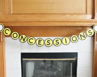 Baseball Concession Stand Banner - Yellow and Black Baseball Banner