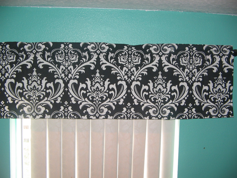 Sale Black And White Damask Window Curtain Valance 54x15