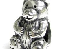 Antique 925 sterling silver teddy bear european charm,Fits Pandora, Troll, Chamilia, Biagi European charm bracelets