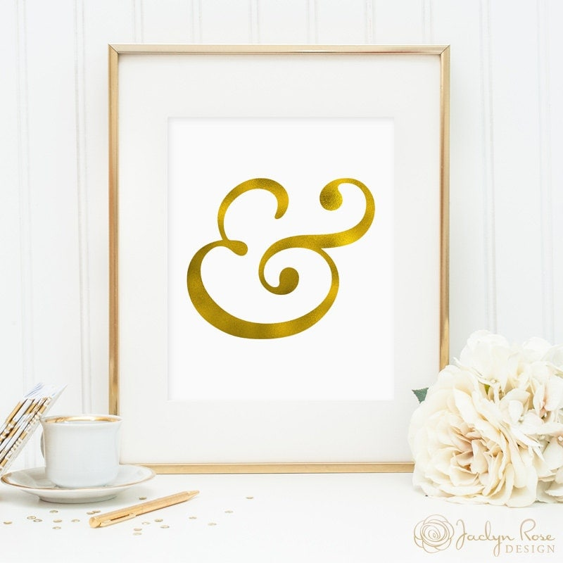 Gold foil ampersand printable wall art decor minimalist art for Ampersand decor