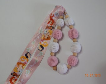 Princess crochet nursing/teething necklace