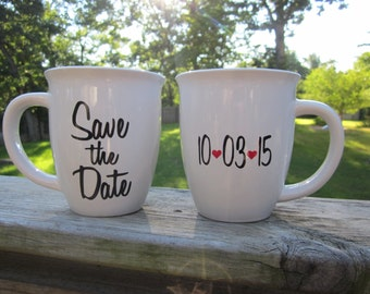 Perfect for Engagement Pictures- Save the Date Coffee/Tea Mugs