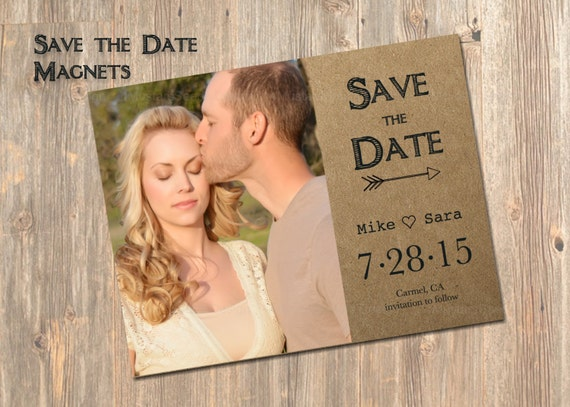 Wedding Invitation Save The Date: Rustic Save The Date Magnets Magnet Wedding By 4MustardSeeds