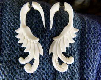 Bone White Hanger Earrings Fake Gauge -  Made for regular pierced ears White Earrings - Bone Earrings - Fake Gauged Carved Earrings *C028