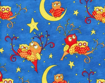 Rhyme Time Blue Owls Henry Glass & Co. Cotton Fabric 6156-77, By the Yard