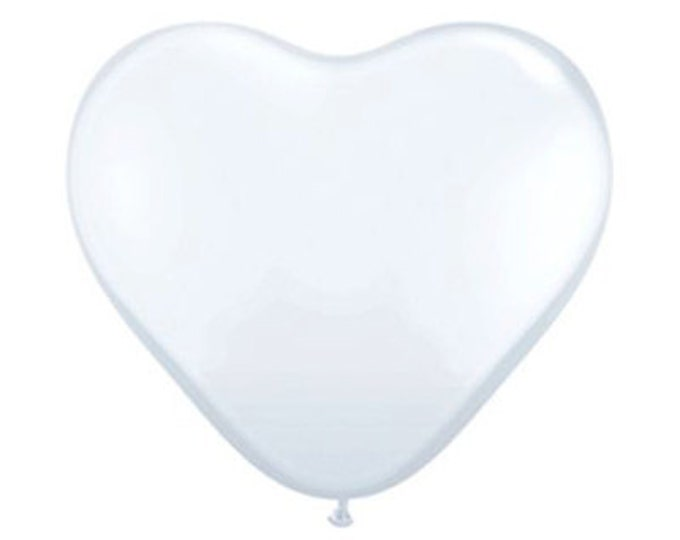 "Giant 36"" Inch White HEART Balloon White Heart Balloon Valentine's Day, Wedding, Baby Shower, Bridal Shower, Birthday"
