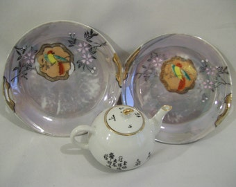 2 Asian Blue Luster Plates with Birds