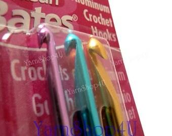 SALE 3pc GHJ Susan Bates Crochet Hooks Size G Size H Size J Sizes G - J, Sizes 4mm-6mm, Aluminum Crochet Hook set, Silvalume crochet set