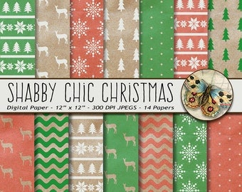 Shabby Chic Christmas Digital Paper, Kraft Paper Christmas, Red and Green Digital Christmas Paper, Vintage Christmas Paper, Reindeer Paper
