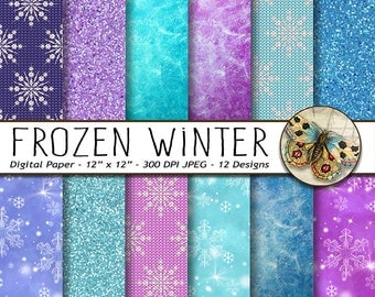 Winter Digital Paper, 12 Frozen Winter Papers, Snowflakes and Glitter Sparkle paper, Ice Digital Paper