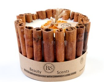 Handmade Scented Soy Candle With Long Cinnamon Sticks
