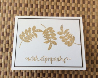 Handmade Greeting Cards:  Sympathy Card. Embossed in gold.