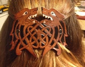 Leather Celtic Wolf Barrette