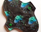 7.5 inch Cloth Menstrual Pad Regular absorbency-Black Rain