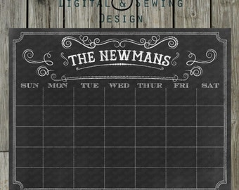 chalkboard calendar 18x24 fully customizable printable digital file