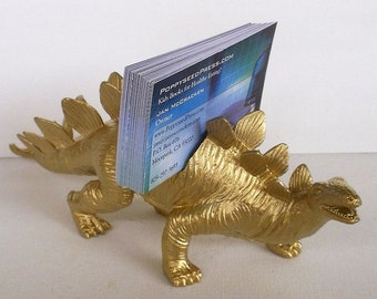 Business Card Holder. Gold Dinosaur Business Card Holder, Desk Accessory, Guy Gift, Father's Day, Gold Dinosaur,  Man Cave, Jurassic Theme