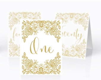 Printable Wedding table numbers | Lace gold