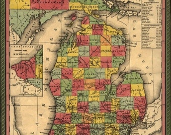 Michigan map (1853), scanned version of an old original map of the Michigan state, vintage download in high resolution-item no 148