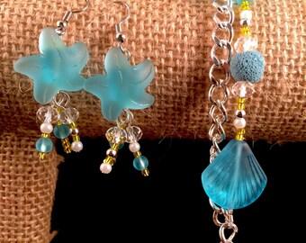 Aquamarine Sea Glass Bracelet & Earrings Set