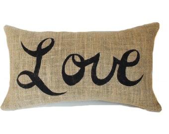 Burlap pillow cover, Love pillow, Lumbar pillow, Wedding gift, Anniversary present, Engagement gift, Decorative pillow, 12x18, 12x20