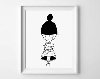 Downloadable Print, Nursery wall art, Black and White Nursery Printable, New Dress, Wall Art Decor, monochromatic art, monochrome print