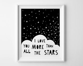 Scandinavian art, nursery decor, wall art, Illustration, nursery printable, I love you print, black and white nursery art, kids room art