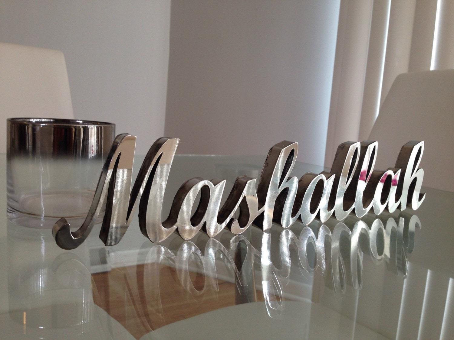 Stainless steel 3d mashallah table decor by modernwallart1 for Stainless steel wall art
