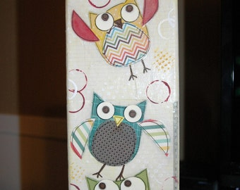 Colorful Silly Owls 4 X 12 Mixed Media Deep Edge Canvas