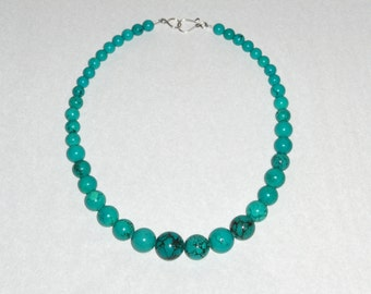 """Turquoise, Dyed, Graduated Stone Bead Necklace, 19"""", Sterling Silver Hook & Eye Clasp"""