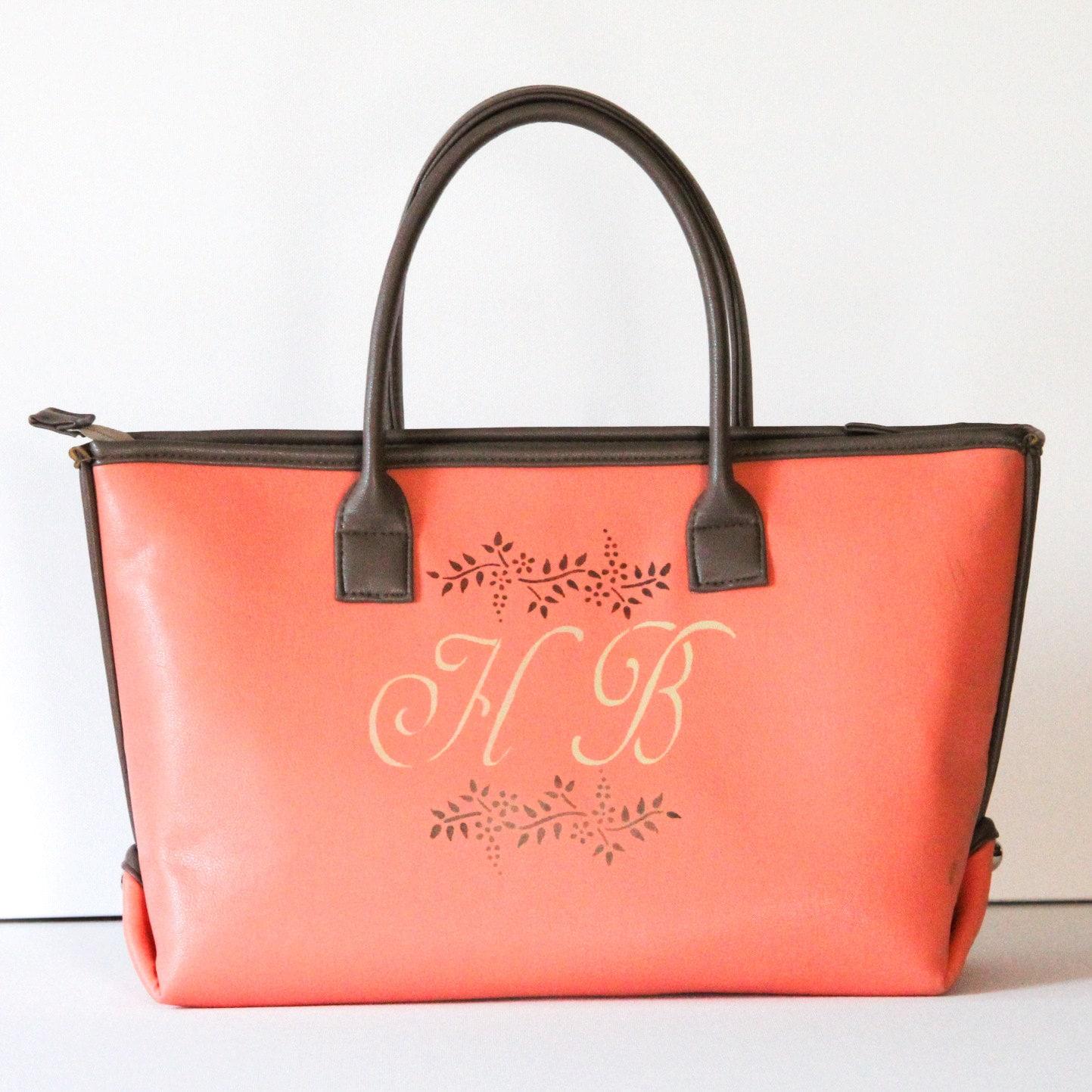 monogram tote bag monogrammed purses vegan leather tote bag
