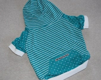 Dog Hoodie, Teal & White Stripes and Polka Dots / Personalization Available!