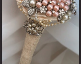 Brooch bouquet. Mini vintage style ivory and pink brooch bouquet. Wedding bouquet. Bridal bouquet. Bridesmaid bouquet. Flowergirl bouquet.