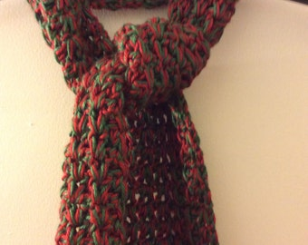 Red and Green Crocheted Scarf