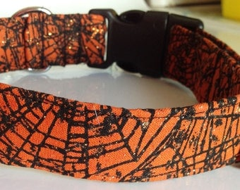 Orange and Black Halloween Spider Web Collar for Dogs and Cats with Sparkling Effect