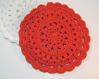 Red Crocheted Cotton Trivet