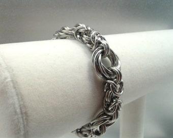 BDSM Bracelet, Byzantine Chainmaille Slave Bracelet, Fetish Submissive Jewelry, Stainless Steel