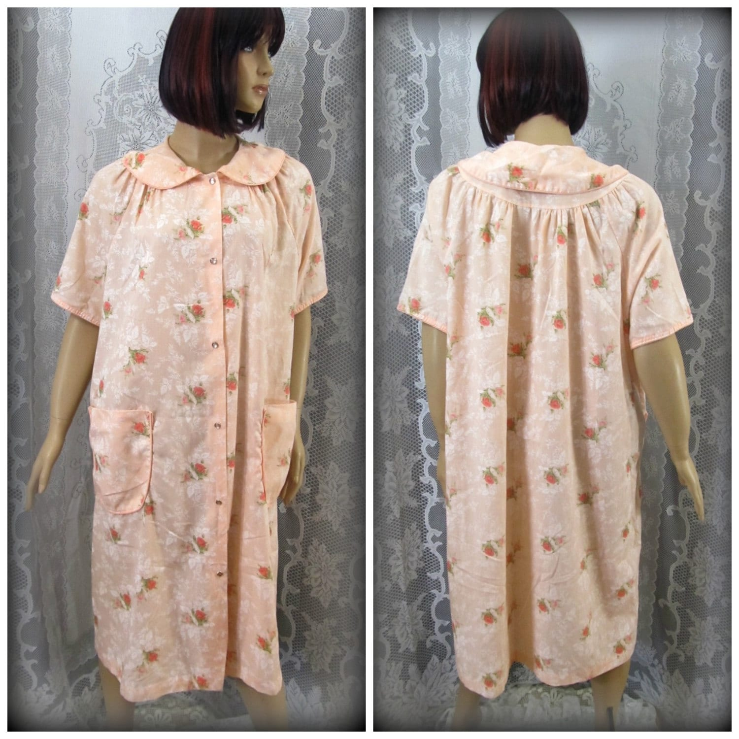 House Coat: Womens House Coat Vintage Bath Robe Button Up House