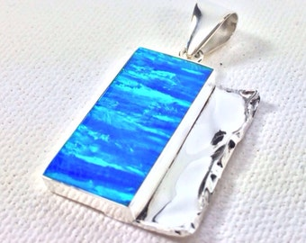 Blue Opal Pendant Set with 925 Sterling Silver