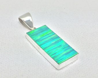 Green Opal Pendant // 925 Sterling Silver // Rectangle Shape // Forest Green Opal Pendant // Medium Size