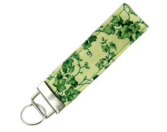 Personalized Fabric Key Chain / Key Fob Green Ivy with Optional Initials