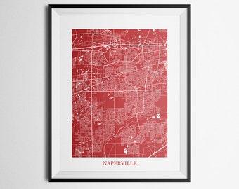 Naperville, Illinois Abstract Street Map Print