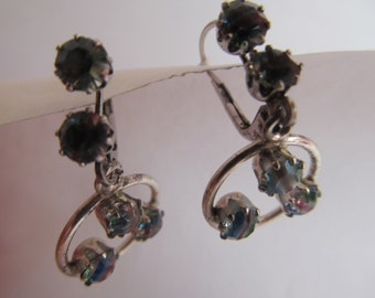 Antique Vintage  Leaver  back   dangling   ierced  Earrings  with  multi  color stones  silver tone