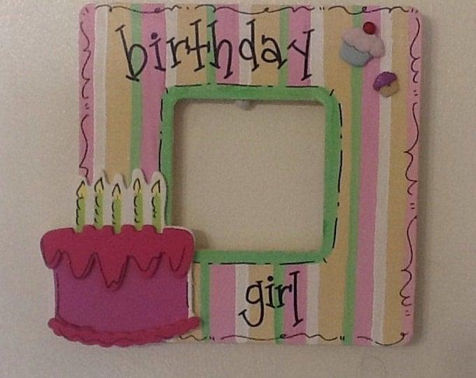 Birthday girl frame, birthday frame, girl frame, boy frame, sister frame, cupcake frame, party frame, birthday party frame,