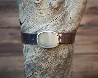 Children's Belt - Dark Brown Leather Belt with Gunmetal Plate Buckle (Children's)