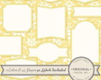Professional Elegant Labels - Yellow Labels, Yellow Tags, Digital Labels, Scrapbook Tags, Wedding Labels, Elegant Labels, Digital Frames