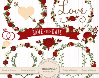 Premium Wedding Floral Clipart & Vectors - Christmas Wedding Clipart, Christmas Vectors, Wedding Flowers, Christmas Clipart