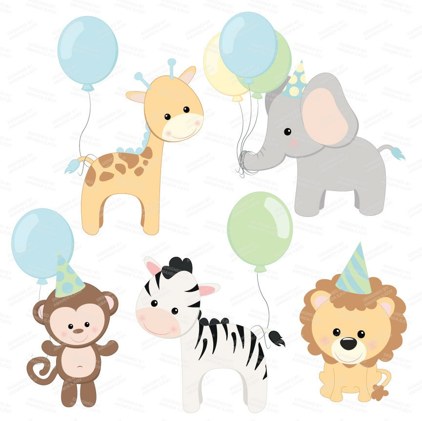 Professional Baby Birthday Party Animals Clipart & by ...
