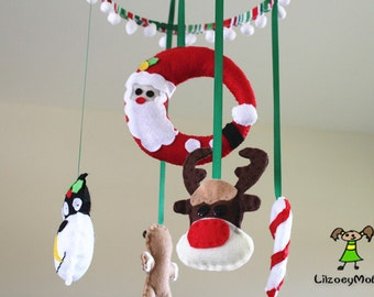 Christmas Baby Crib Mobile,  Felt Mobile, Nursery Decoration