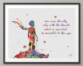 The Little Prince Quote Le Petit Prince French inspirational Print Wedding Gift Wall Decor Art Home Decor Wall Hanging [NO 46]