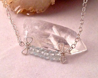 Aquamarine Blue Quartz and Sterling Silver Bow Necklace